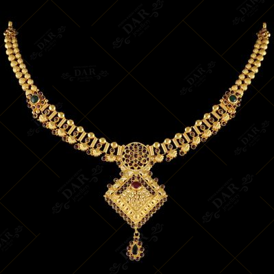 22 KT GOLD CHAKRI STONE NECKLACE